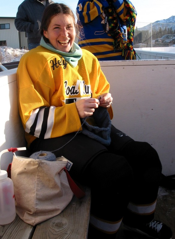 Carrie Cahill Mulligan knitting between hockey games, Healy, Alaska, February 2003.
