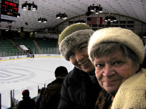 Fiber artist, Carrie Cahill Mulligan & Mom enjoy excellent women's ice hockey at Thompson Arena, in Hanover, NH.