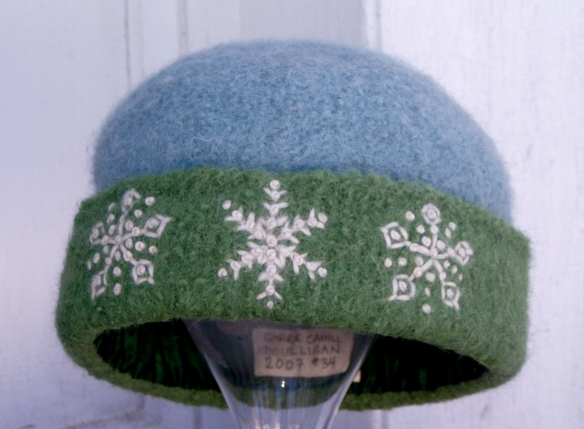 "Hand knit felt hat #34 of 2007 by Carrie Cahill Mulligan, ""Spring Snowflakes"""