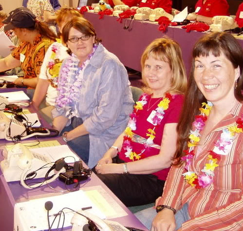 Fiber artist from Canaan, NH, Carrie Cahill Mulligan, joins with Terri Wiltse, Fair Director, and Pam Sullivan, Marketing Directior, for the League of New Hampshire Craftsmen's volunteer night at New Hamphire Public Television's Spring Auction, May 2007.