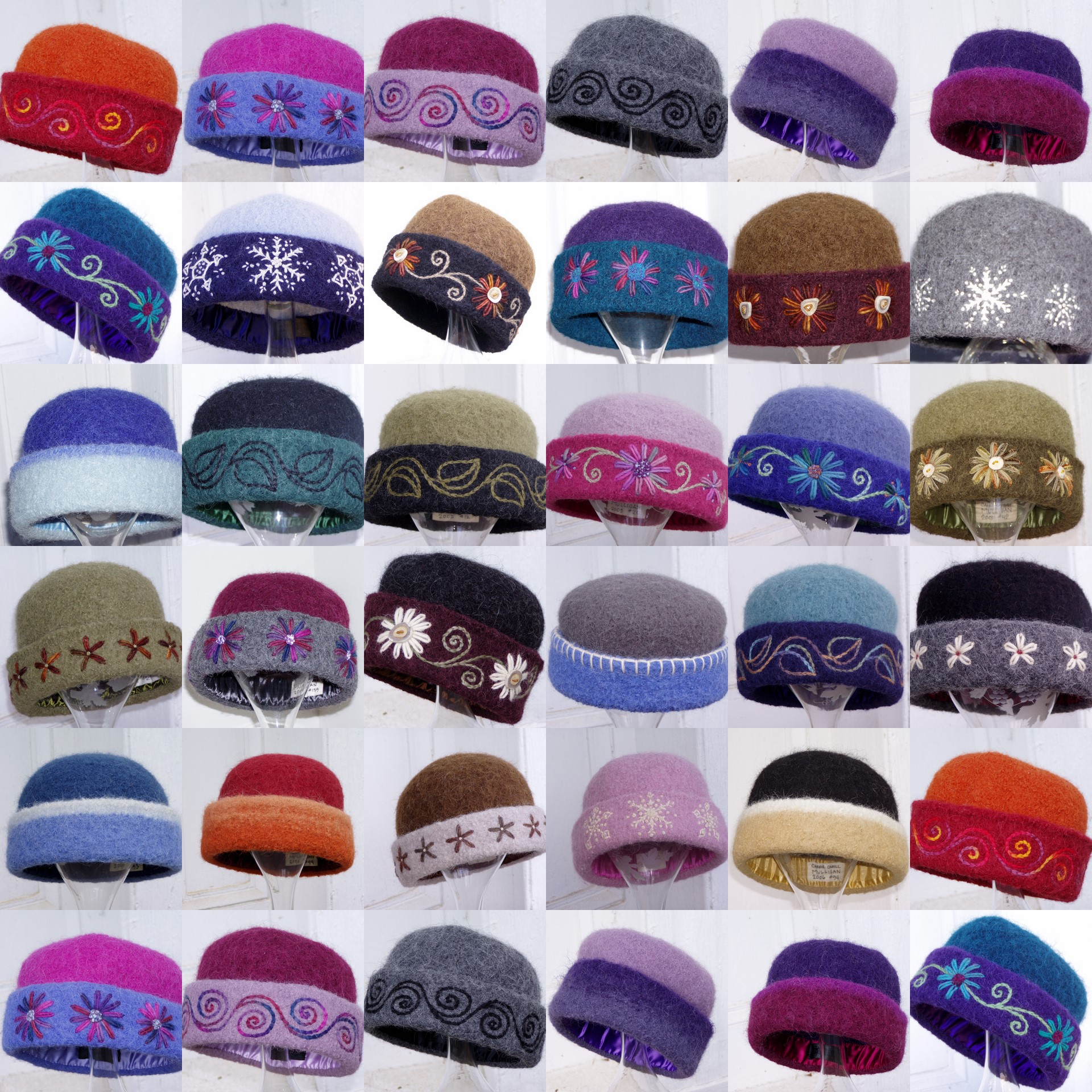 Collage of felt hats by NH fiber artist, Carrie Cahill Mulligan