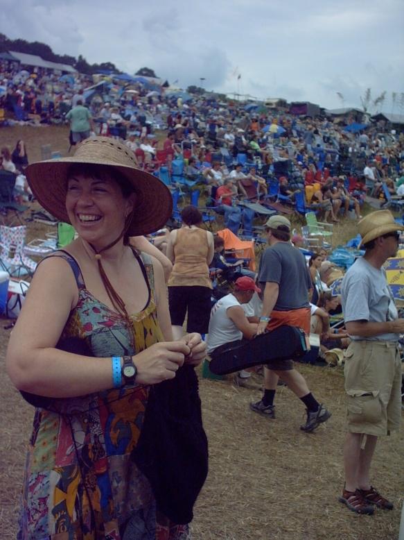 Knitting at Grey Fox Bluegrass Festival.