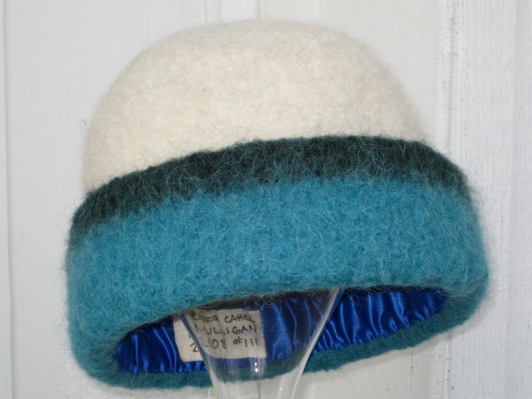 Custom knit felt hat for the Labrador Society of Ottawa's silent auction.