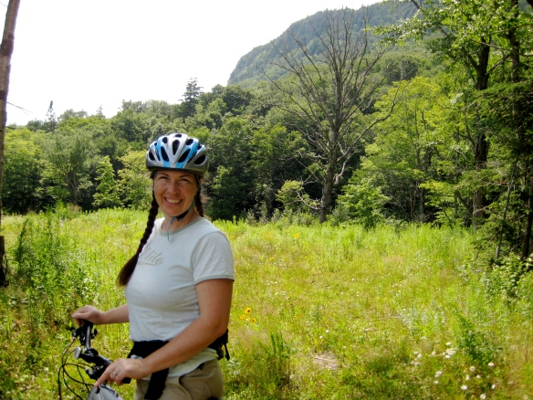 Enjoying the bike trails of the Balsams' wilderness in Dixville Notch, New Hampshire