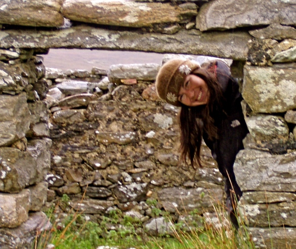 A felt hat is the perfect accessory for exploring the rainy ruins of Achill Island, Ireland, September 2006.