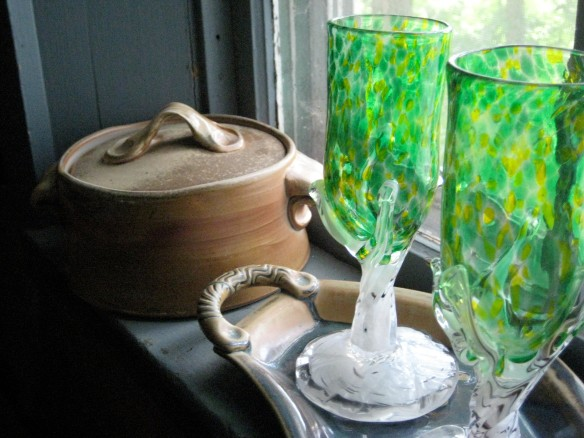 Hand-blown Spring Tree wine goblets by American glass artist Jordana Korsen.