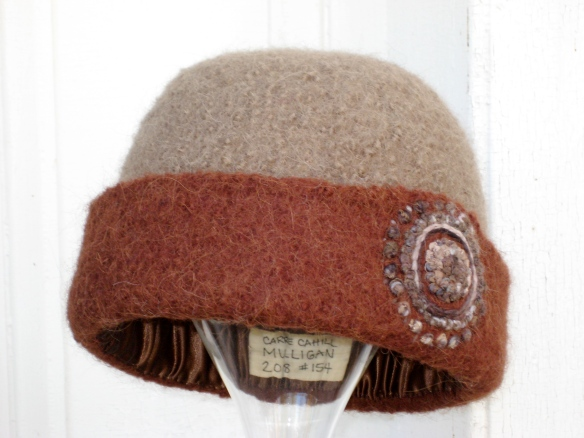 Late Autumn Felt Hat with Mandala of French Knots Embroidery.