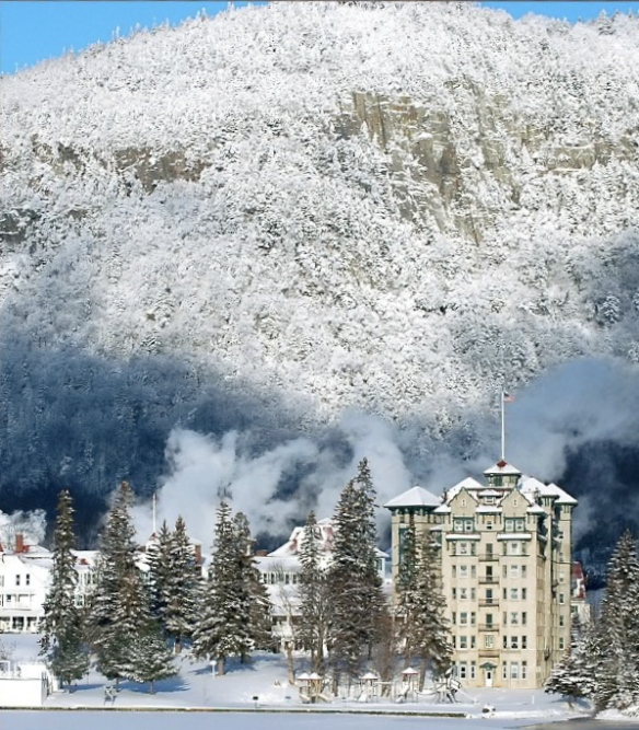 A dusting of snow frosts Dixville Notch & The Balsams Grand Resort Hotel.