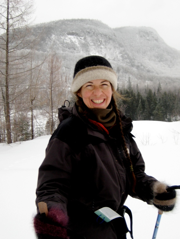 Felt hat fiber artist, Carrie Cahill Mulligan enjoys the xc-skiing at The Balsams.