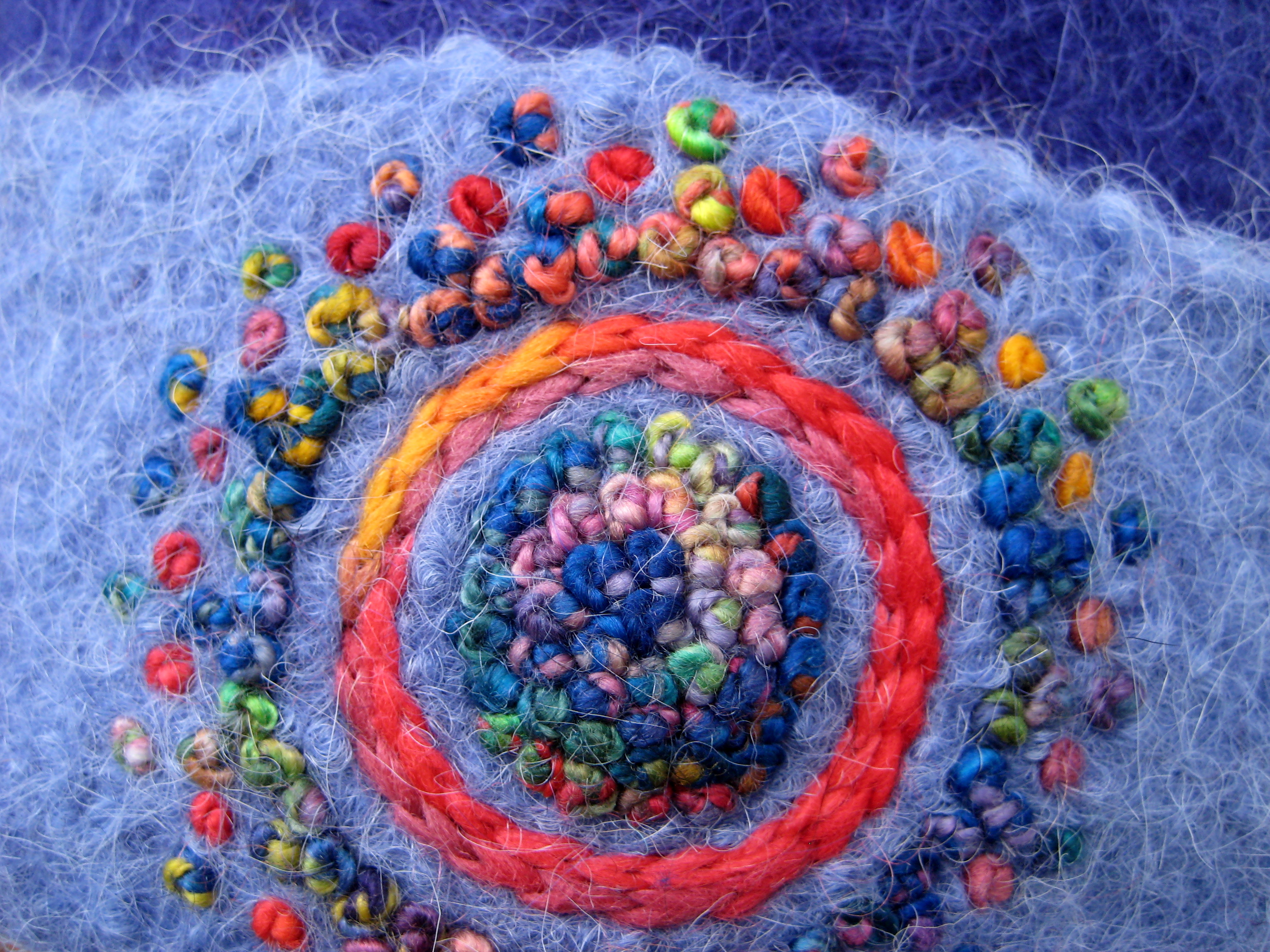 New freehand embroidery red hot blues french knot mandala