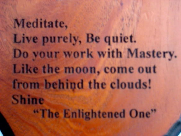 Meditate, Live purely, Be quiet. Do your work with Mastery. Like the Moon, come out from behind the clouds! Shine. - 'The Enlightened One'