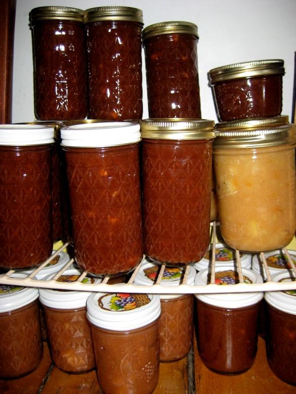 Jars of Apple Rhubarb Marmalade