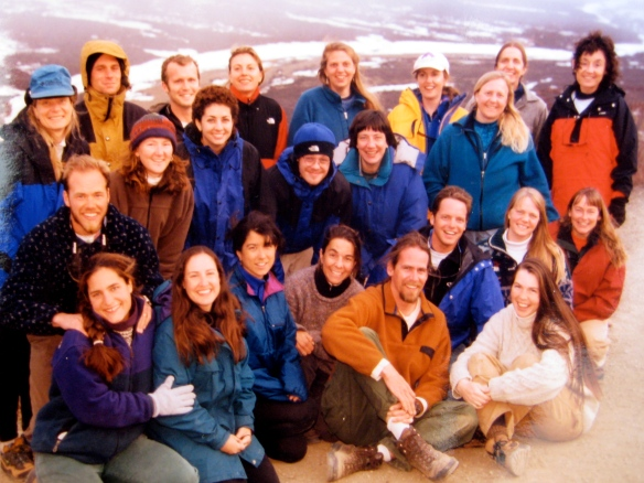25 Interpretive Park Rangers bundle up against the spring chill at Polychrome Pass in Denali National Park, Alaska.