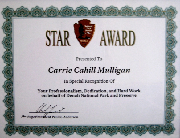 NPS Star Award presented to Carrie Cahill Mulligan, 2004.