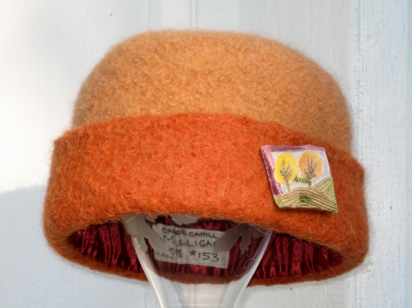 CCM Felt Hat #153 of 2008, with Jane Kaufmann raku landscape button.