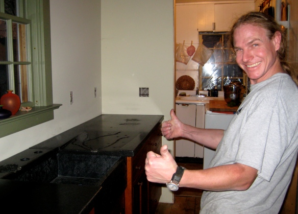 Andy is happy with the installation of his 1st-ever concrete counter top.