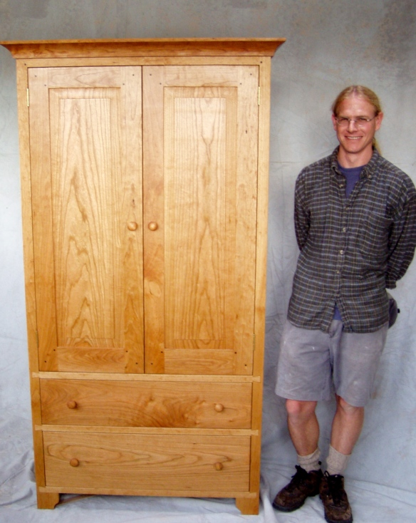 Andy's final project at the Silva Bay Shipyard School, a cherry wood Shaker-style cabinet.