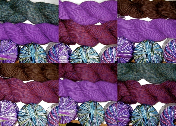 Yarn color combinations for a custom felt hat request.