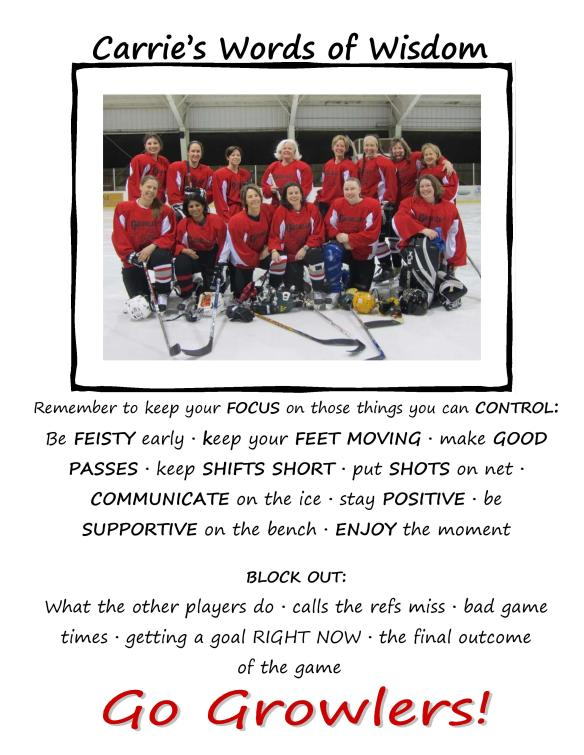 Remember to keep your FOCUS on those things you can CONTROL: Be FEISTY early · keep your FEET MOVING · make GOOD PASSES · keep SHIFTS SHORT · put SHOTS on net · COMMUNICATE on the ice · stay POSITIVE · be SUPPORTIVE on the bench · ENJOY the moment BLOCK OUT: What the other players do · calls the refs miss · bad game times · getting a goal RIGHT NOW · the final outcome of the game