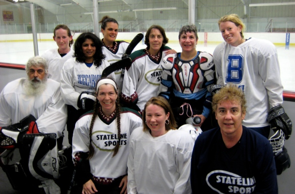 Women's ice hockey team, Stateline White, after their last game of the 2012 season.