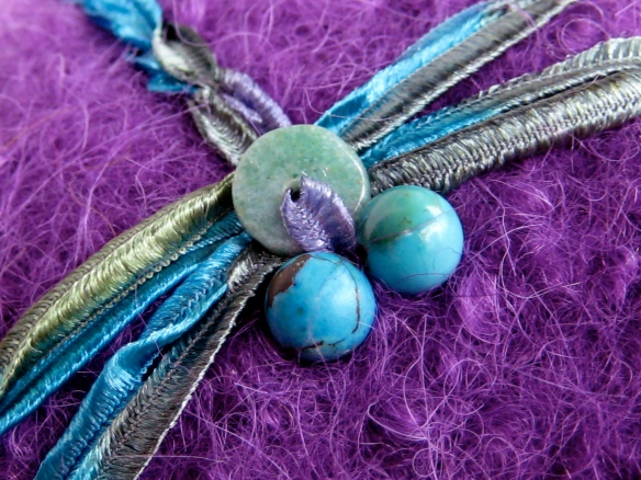 Embroidery Detail of CCM Felt Hat #20 of 2012 - ribbon dragonfly with turquoise & jade gemstones.