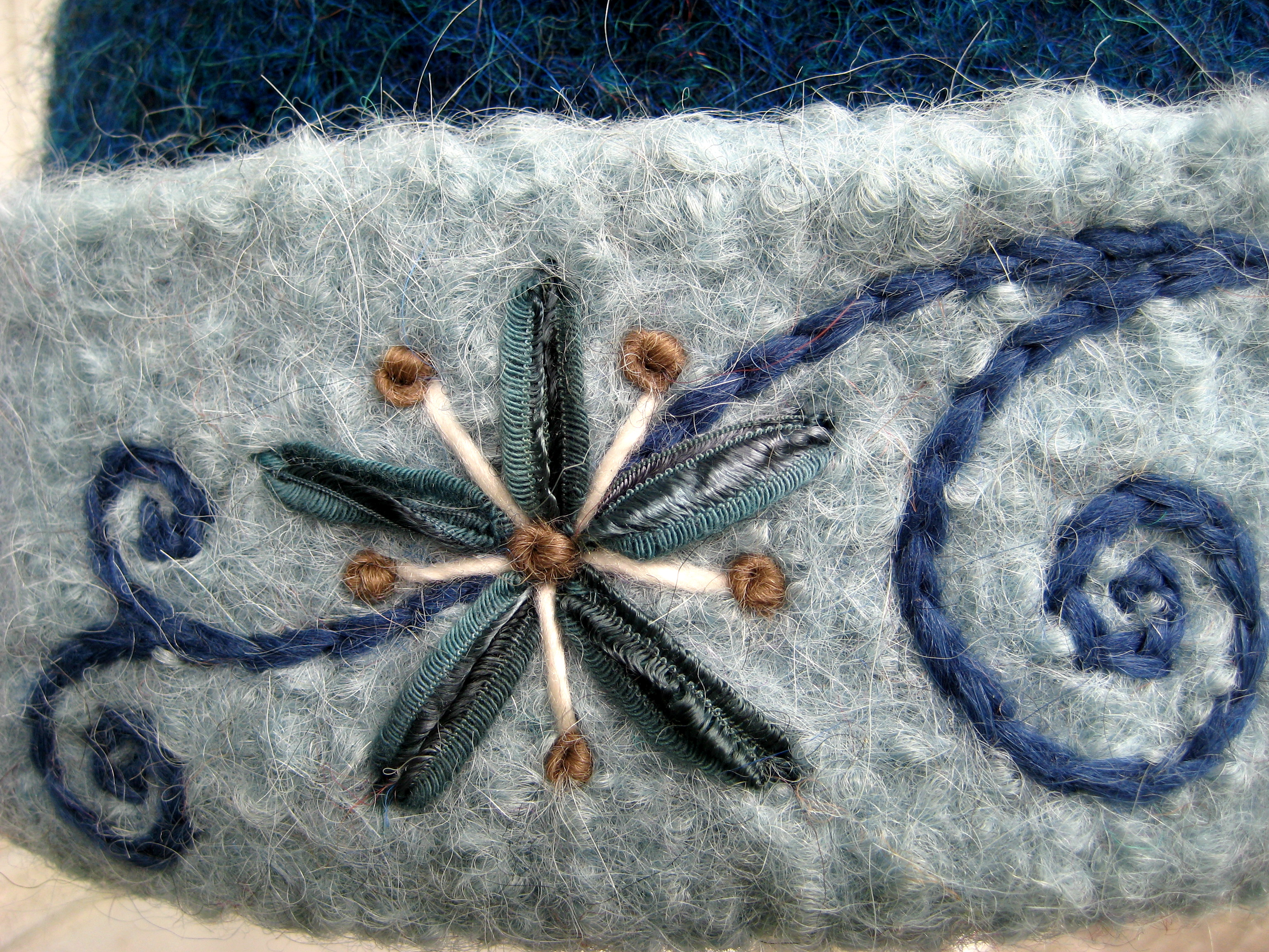 Latest freehand embroidery teal blue flower vine