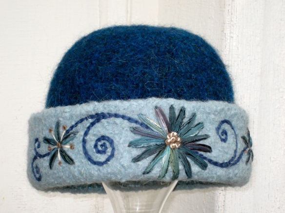 Knitted felt hat with freehand ribbon embroidery by Carrie Cahill Mulligan of Canaan, New Hampshire.