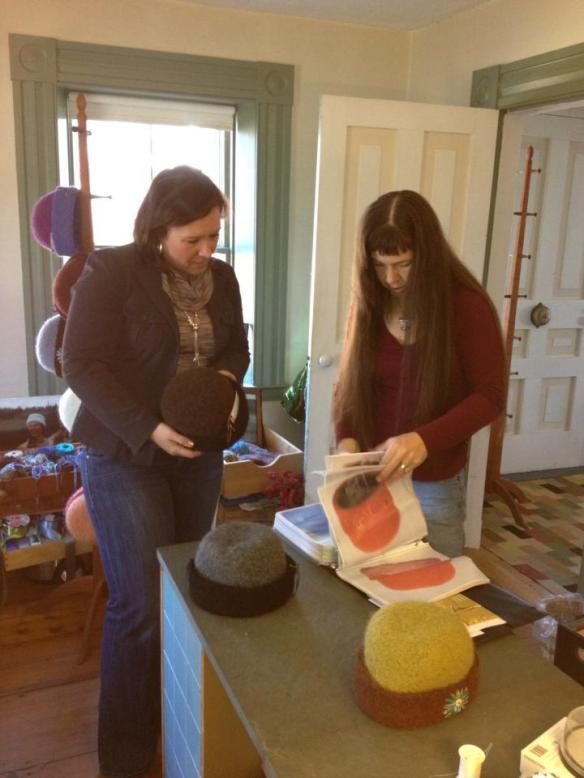 Liz Michaud & I work on designing her custom embroidered hat in my studio in Canaan, New Hampshire