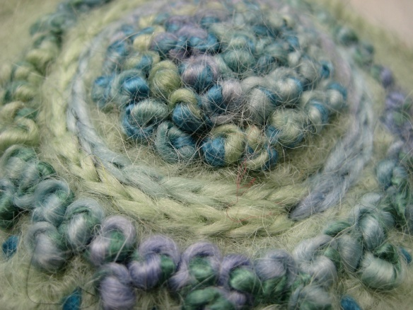 Detail of freehand French knot embroidery on felt hat #82 of 2012
