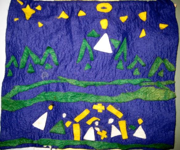 A kindergarten Christmas project, circa 1976: cut and glued felt nativity scene by Carrie Ann Cahill.