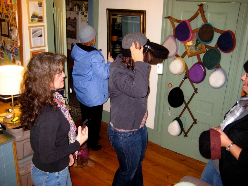 Mary Albina, Shelly Ciccone, Liz Michaud & Janet Smithe trying on hats in my Canaan studio... let the frenzy begin!