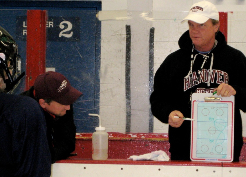Coach Dick Dodds shares his enthusiasm for hockey with Campion's Learn-to-Play group near Hanover, NH.