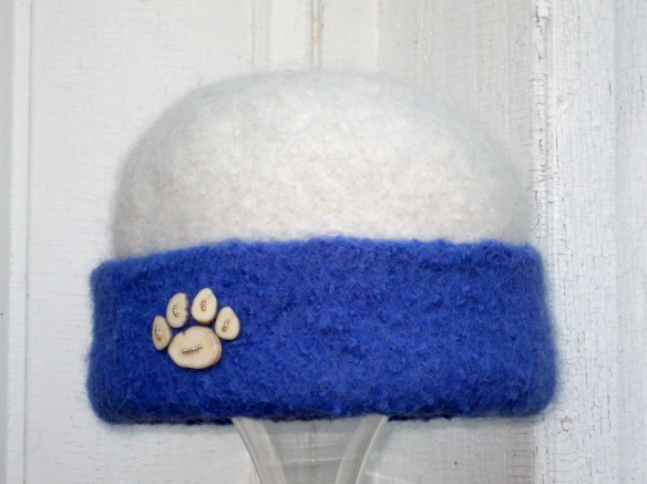One of my 4 entries into the 2013 Artworks Exhibit at Dartmouth College: 2012 Hat #44--Frosty Paw of caribou antler buttons