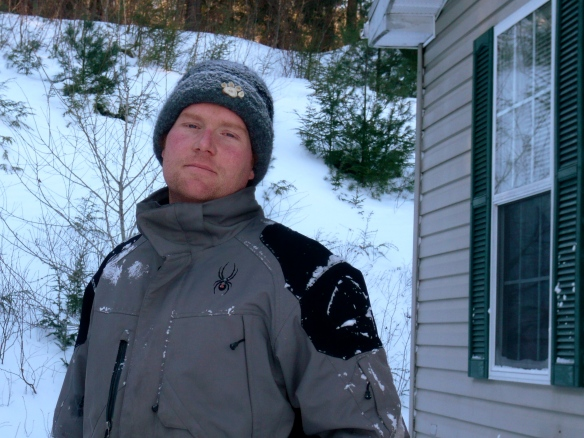 Chris Farrell rocks his wife Katie's Antler Paw Print Felt Hat, especially for snowblowing.