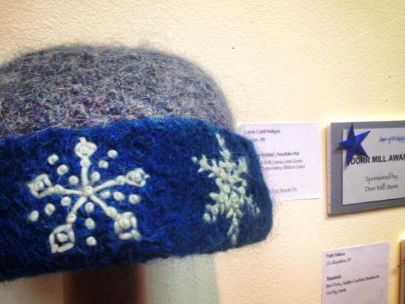 """Highland Holiday"" Knitted Felt Hat with Freehand Embroidery by Carrie Cahill Mulligan, winner of the 2013 Dorr Mill Award."