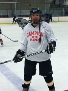 Carrie Cahill Mulligan sports glittery fairy wings on Halloween at Campion Hockey Rink, Lebanon, New Hampshire