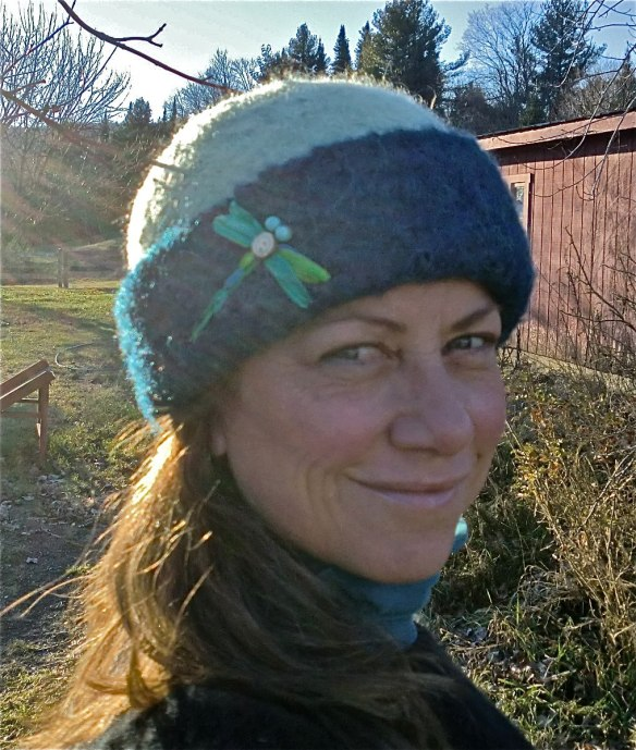 Glass artist, Wendy Besett, of Hardwick, VT in her latest Carrie Cahill Mulligan felt hat, with dragonfly embroidery.
