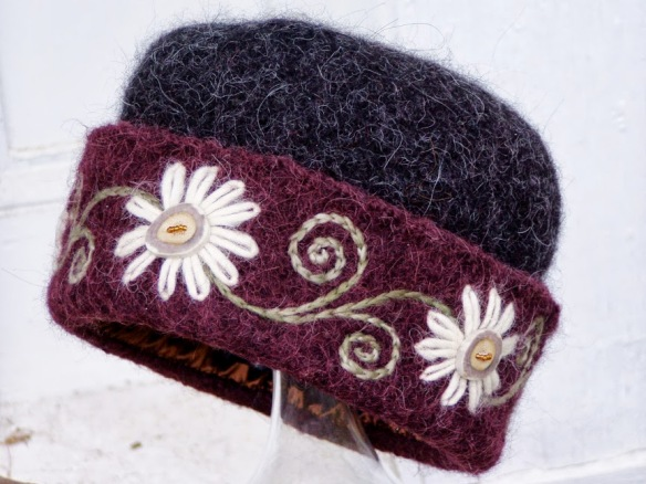 Felt Hat #2 of 2004, with 5 caribou button flowers.
