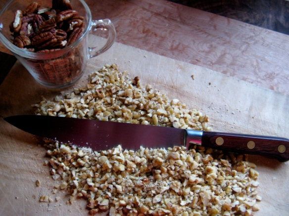 Finely chopped pecans and/or walnuts lend a toothsome texture to banana bread.