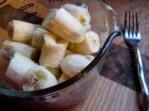 Ripe bananas are easy to mash with a fork.