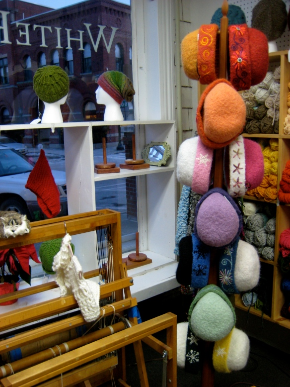 14 One-of-a-kind knitted felt hats with freehand embroidery by Carrie Cahill Mulligan of Canaan, New Hampshire.