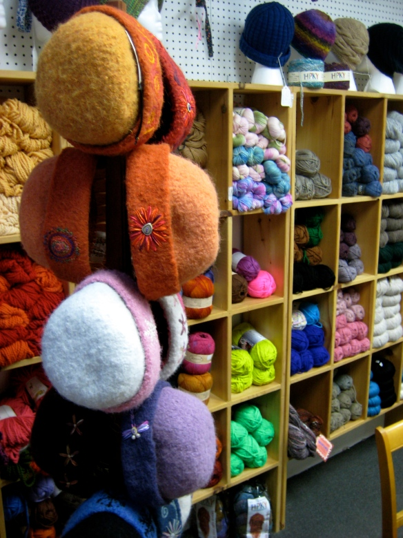 Innumerable skeins in yummy colors line the walls of White River Yarns, in White River Junction, the heart of the Upper Connecticut River Valley of NH & VT.