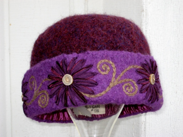 Carol K's gorgeous custom embroidered purple felt hat #58 of 2013, by local fiber artist, Carrie Cahill Mulligan of Canaan, NH.