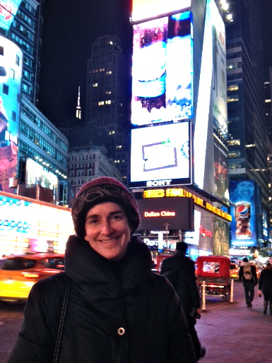 """I visited my daughter in NYC over the holidays, and here I am in Times Square, feeling very stylish and snug in your wonderful hat (-: "" - Priscilla"