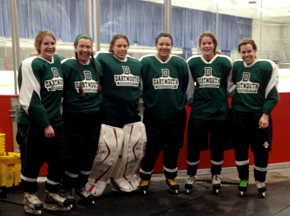 The Dartmouth Women's Club Hockey Team, exhausted but giddy with our tie game.