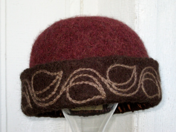 Freehand Leaf & Vine embroidery adorns Priscilla's new felt hat.