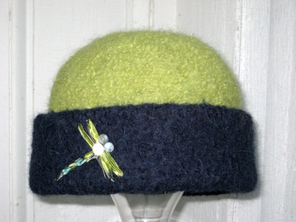 Freehand dragonfly embroidery with agate bead eyes on felt hat by New Hampshire fiber artist, Carrie Cahill Mulligan
