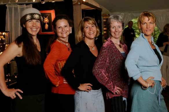 League of NH Craftsmen artists, from L-R: Carrie Cahill Mulligan, Laura Chowanski, Kristin Kennedy, Deirdre Donnelly & Natalie Blake at the 2008 Craftsmen's Fair, Newbury, New Hampshire.