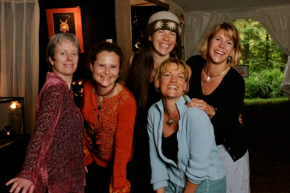 League of NH Craftsmen artists, from L-R: Deirdre Donnelly, Laura Chowanski, Carrie Cahill Mulligan, Natalie Blake & Kristin Kennedy at the 2008 Craftsmen's Fair, Newbury, New Hampshire.