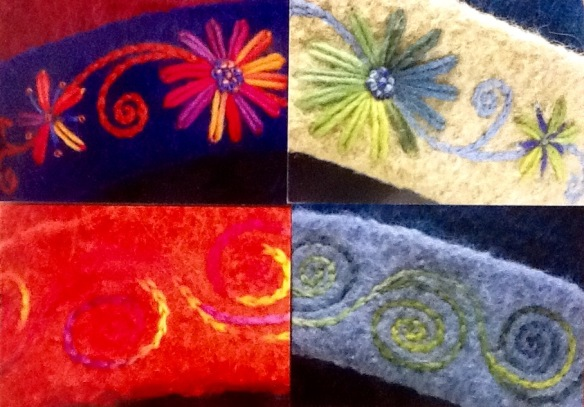 Set of 4 glossy notecards featuring macro images of the free hand crewel embroidery of New Hampshire fiber artist, Carrie Cahill Mulligan.